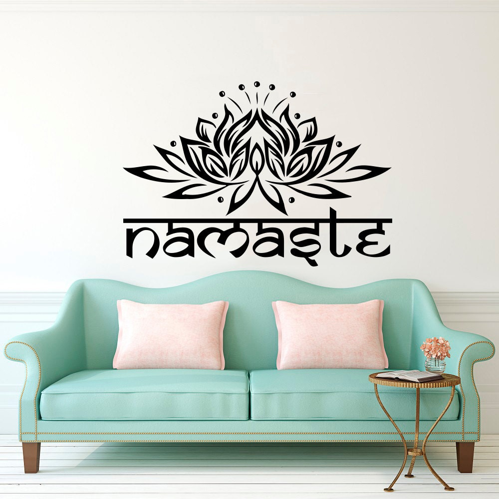 Namaste Wall Decal Lotus Flower Vinyl Sticker Decals Quotes Etsy