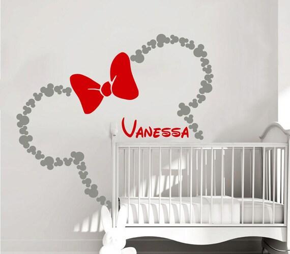 Minnie Mouse Namen Wandtattoo Aufkleber Bogen Kopf Ohren Vinyl Aufkleber  benutzerdefinierte Aufkleber personalisierte Baby Mädchen Namen Dekor ...