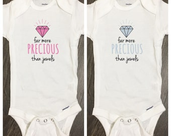 Far More Precious than Jewels bodysuit, Precious New Baby Clothes, Newborn Shirt, Religious Coming Home Gift, Baby Shower Clothes