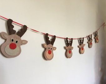 Christmas Bunting Wooden Stag Head Rustic Nordic Scandi Decoration Reindeer Xmas