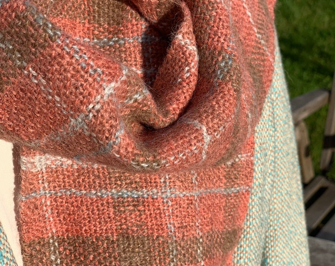 Featured listing image: Hand Woven Scarf, dyed using madder
