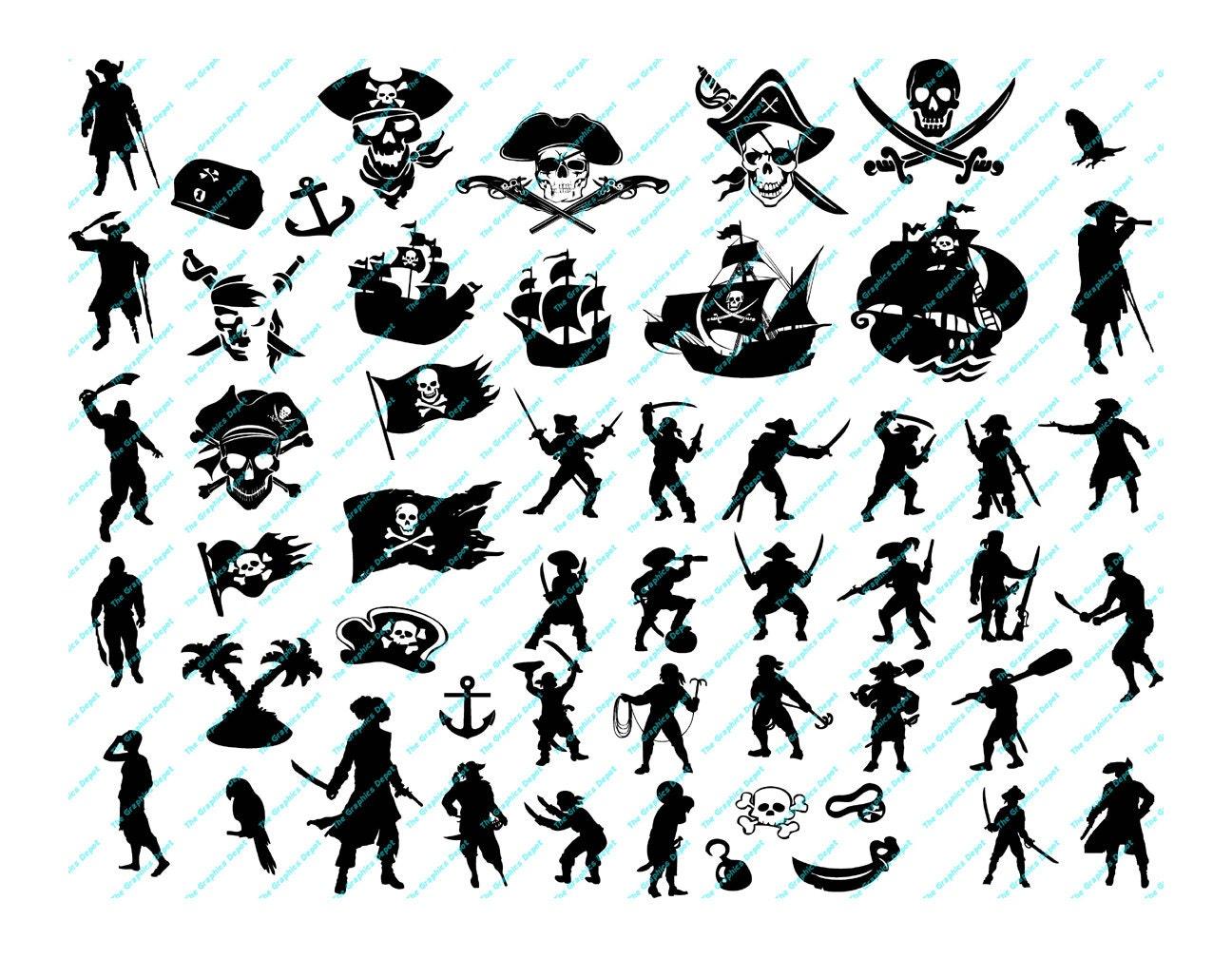 Plotterdatei Kraki Pirati SVG-DXF-Format 1- /& mehrfarbig