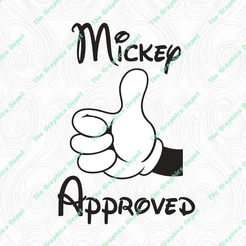 Mickey Mouse Mickey Approved Thumbs Up svg dxf pdf eps  67a63d27a834