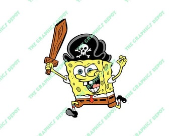 Spongebob Pirate - SVG file, DXF file, EPS file, png file - Instant Download - Cricut Explorer - Silhouette Cameo