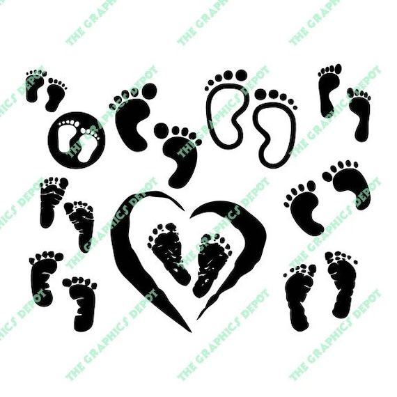 baby footprints silhouettes instant download svg eps files etsy