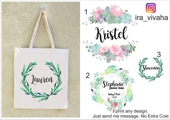 Bridesmaid Tote Bag Set Of 4 Bridal Party Totes Bridesmaid Tote Bridemaid Gift Personalized Tote Monogrammed Tote Wedding Gift