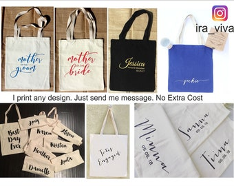 Personalized Bridal Tote Bag, Bridesmaid Tote Bag, Maid of Honor Tote Bag, Wedding Party Tote Bags Bridesmaid Gift, Tote Bags