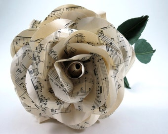 Giant Sheet Music Rose - Bridal Sheet Music Bouquet
