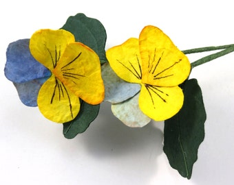 Pansy - Single Stem Paper Flower - Paper Pansy
