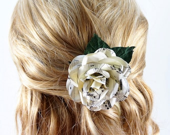 Sheet Music Rose Hair Clip - Wedding Hair Piece Corsage - Flower Brooch
