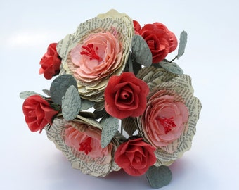 Book Peonies and Coral Roses Bridal Paper Bouquet