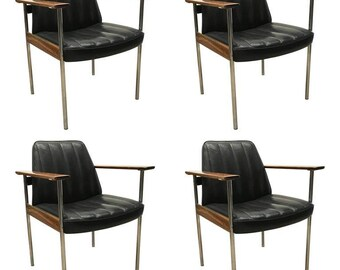 Set of Four Armchairs in Rosewood and Leather by Dokka