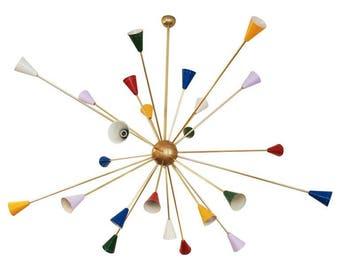 Huge Mid-Century Sputnik Chandelier in the Style of Stilnovo