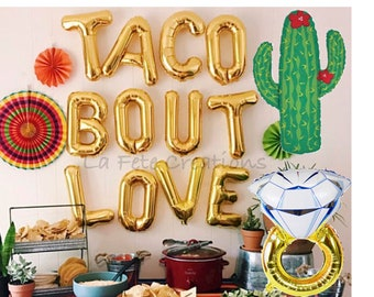 Taco Bout Love Balloons Letter Balloons Large Cactus Balloon Etsy