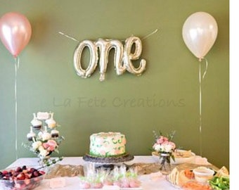 ONE Balloon Script White Gold Includes String For Hanging 1st Birthday Photo Prop Air Fill Only First One Banner