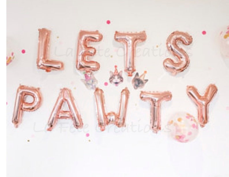Paw Print Balloons LETS PAWTY Balloons Lets Pawty Letters  11\u201d Latex Paw Print Balloons Lets Pawty Banner Doggie Party Dog Decor Cat