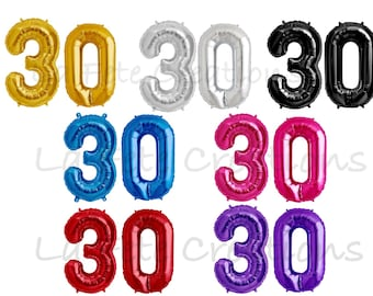 """30th Birthday Number Balloons 34"""" Foil Helium Quality Set of 2 Balloons Numbers 30 Choose Gold, Silver, Black, Pink, Blue, Red or Purple"""