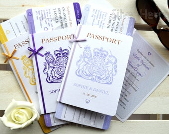 Bow - Passport Wedding Invitation with Boarding Pass RSVP- handmade -for weddings abroad and destination wedding- ribbon/bow SAMPLE ONLY