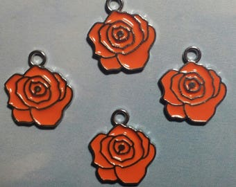 Orange rose enamel charm