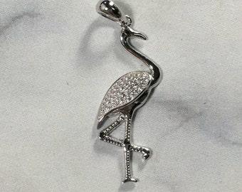 925 Sterling Silver Flamingo Pendant