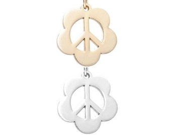 Peace sign flower (Silver or Gold tone) [5 pieces]