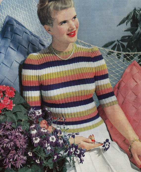 1940/'s Striped Ruched Sweater Knitting Pattern Copy