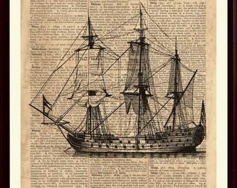 Old Ship Print, Nautical Art, Sailing Decor, Vintage Sailboat, Sailing Art, Coastal Art, Coastal Artwork, Sail Boat Print