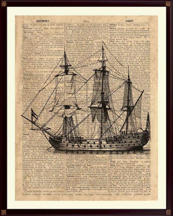 Old Ship Print Sailing Decor Vintage Sailboat Etsy