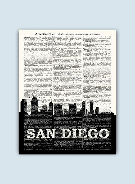 San Diego Skyline San Diego Poster San Diego Decor San | Etsy