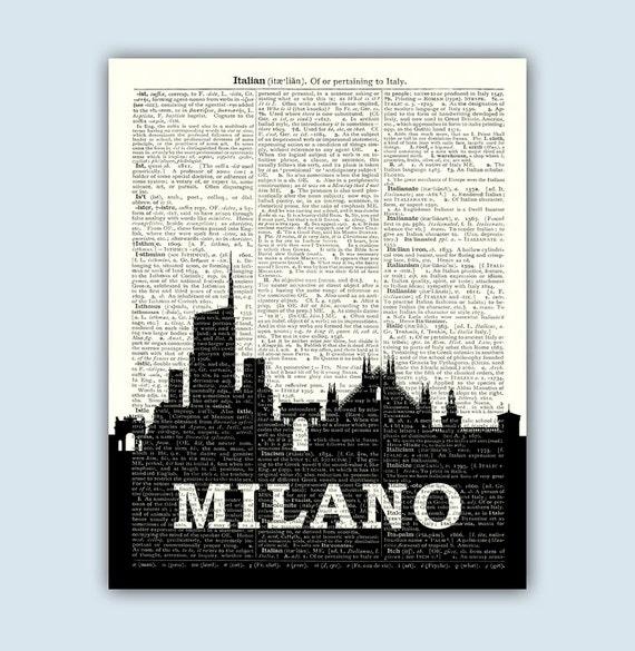 Milano print milano skyline milan italy milano home decor for Home decor milano