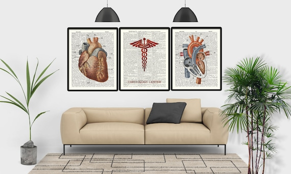 Incredible Decoration For Heart Center Waiting Room Cardiology Dictionary Page Vintage Heart Illustrations Set 3 Posters Decoration Medical Cabin Pabps2019 Chair Design Images Pabps2019Com