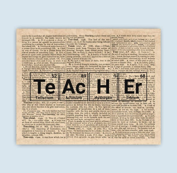 Periodic Table Teacher Art Words Made From Elements Periodic Etsy
