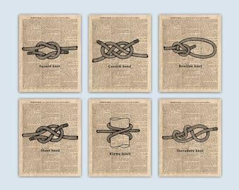 Nautical Knots, Set of 6 Prints, Sailing Art, Nautical Art, Coastal Wall Art, Sailor Knot, Sailing Gifts, Coastal Decor, Nautical Wall Decor