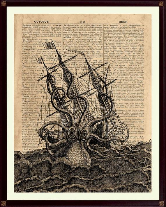 Kraken Poster Octopus Print Kraken Print Nautical Decor,