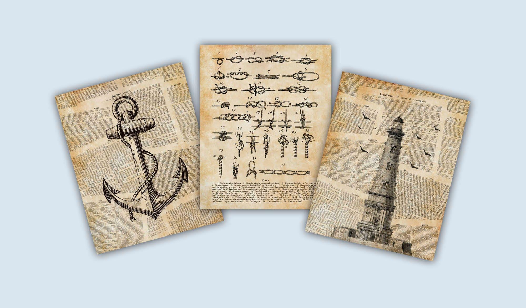 Maritimes Dekor Segler Knoten Poster Anker Wandkunst