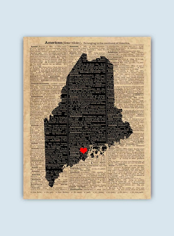 Jefferson Maine Map.Maine Print Maine Map Maine Wall Art Maine Gift Wedding Etsy