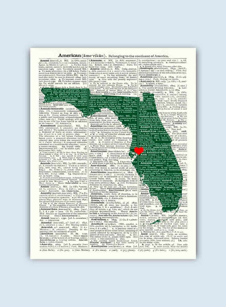 Tampa Florida Map State.Florida Print Dictionary Art Florida Map Gift Florida Gift Etsy