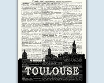 Toulouse Print, Toulouse Skyline, Toulouse Wall Art, Toulouse Wall Decor, Toulouse Home Decor, Toulouse France, Toulouse Poster