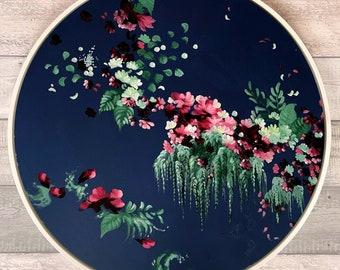 botanical art, original art, wall art, home decor, floral art, abstract art, interior art, botanical, circle art, blue art, flower painting