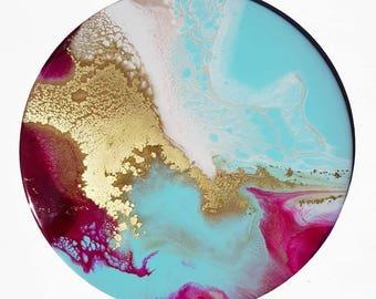 Fluid art, fluid painting, resin art, circle art, home decor, original art, modern art, abstract art, magenta teal, wall art, wall art, art