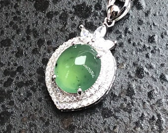 Grade A Translucent Natural Burmese Jadeite ICY Cabochons with 925 Silver Cross Pendant Natural Jadeite Pendant
