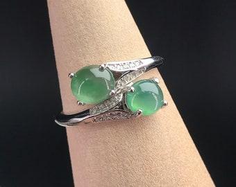 21 mm Ring Jadeite Jade US 12 Light flower Green Color Natural Grade A Type Jadeite Burma Burmese Gemstones Handmade Carved Ring NO.032