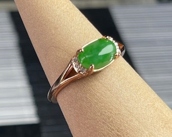Certified full green Burmese jadeite jade Cabochon ring