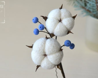 Mountain wedding hair pin Cotton plant Christmas gifts ideas Winter wedding Flowers jewellery Felted accessory Needle felt Cotton flowers