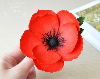 Red poppy hair clip Poppy Boho wedding Boho hair accessories Rustic wedding Summer wedding Red wedding hair piece Red flower Hair Clip