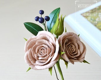 Boho wedding Outdoor wedding Rose hair pin Beige Wedding Hair Pin Bridal Flower hair accessory Beige flower hair pin Bridesmaid Headpiece
