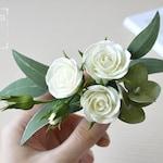 Eucalyptus wedding hair clip Garden wedding Modern wedding Greenery wedding Ivory rose Flower for hair Wedding hair piece Tropical wedding