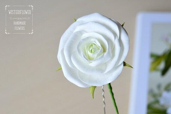 Epingle De Cheveux Rose Blanc Piece De Tete De Fleur Blanc Etsy