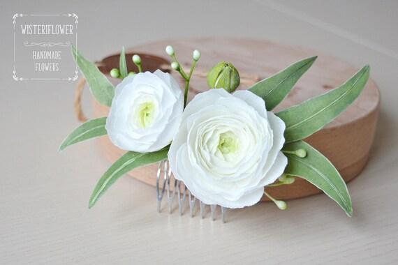 White green wedding eucalyptus wedding hair comb ranunculus etsy mightylinksfo