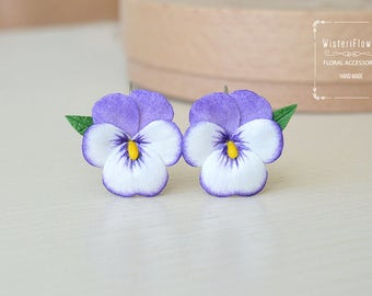 Fairytale gift Flower Earrings Pansy Purple Bride jewelry Wedding Flower Jewelry Gift for her Bridesmaid Floral earrings Romantic gift idea